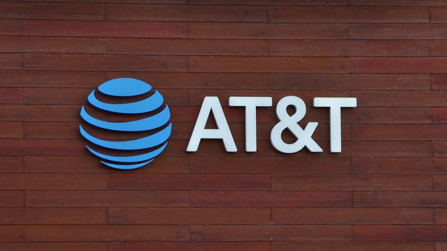 Image of the AT&T logo on a wall