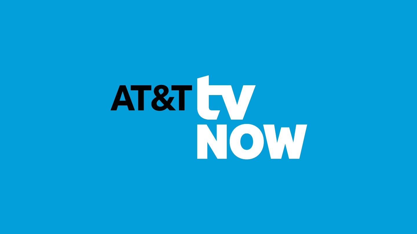 AT&T TV NOW logo on blue background