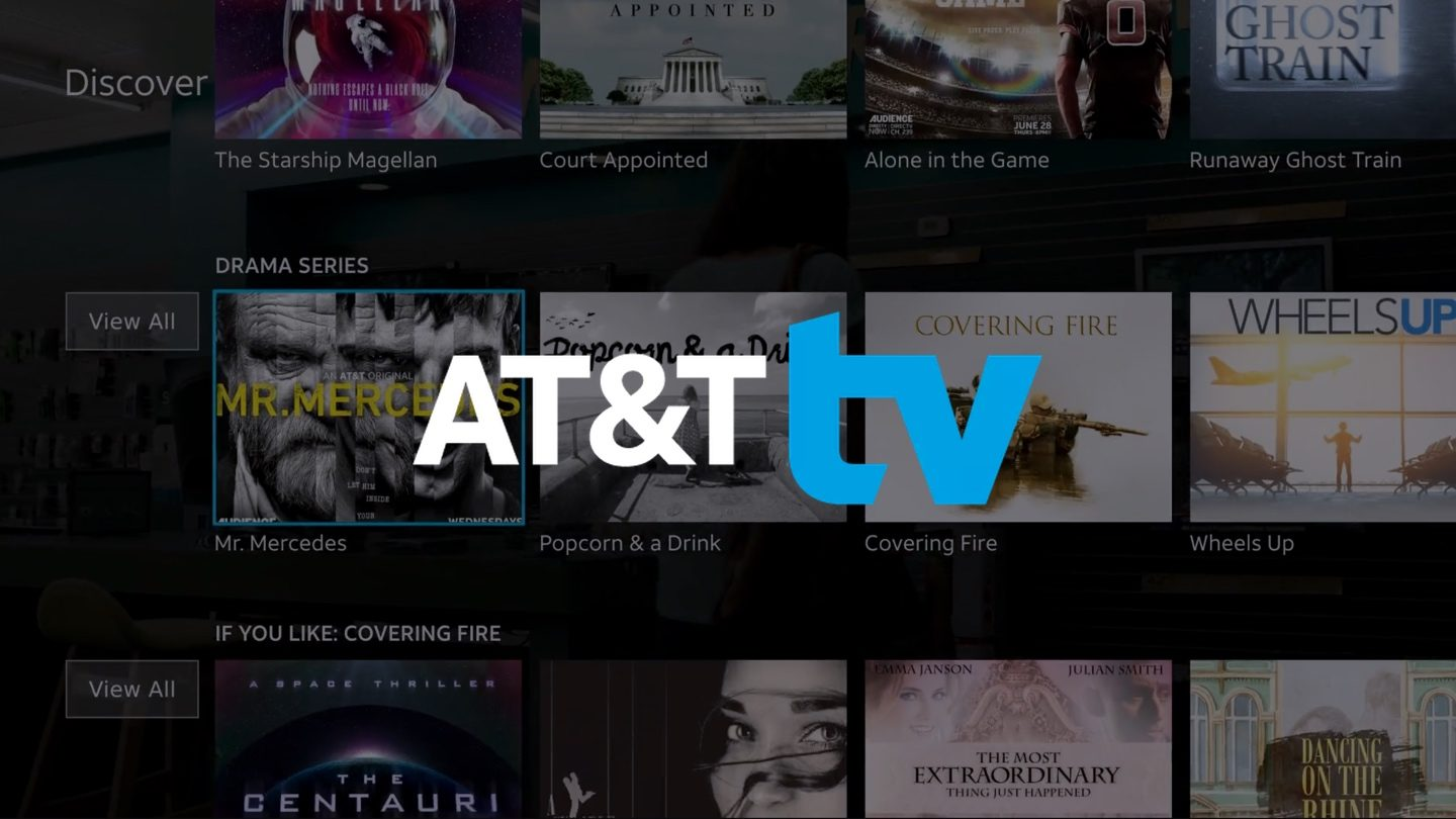 AT&T TV logo on background with menu of TV shows