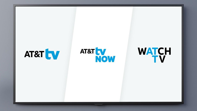 AT&T TV logo next to AT&T TV NOW and AT&T Watch TV logos
