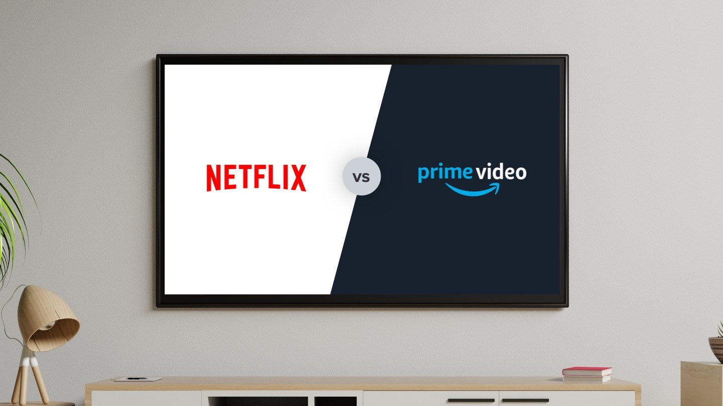 Netflix's and Amazon Prime Video's logo to compare and contrast both brands