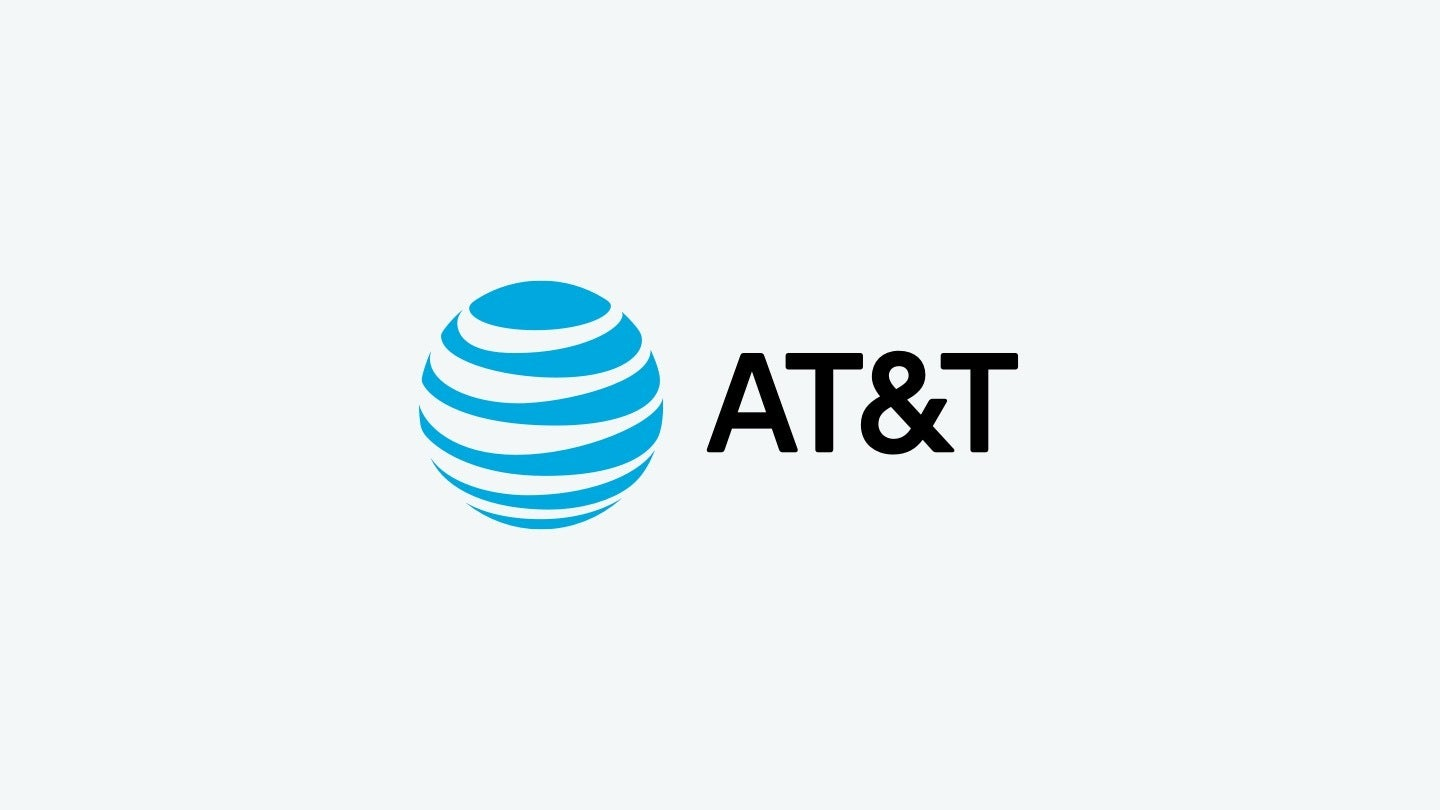 AT&T logo on gray background