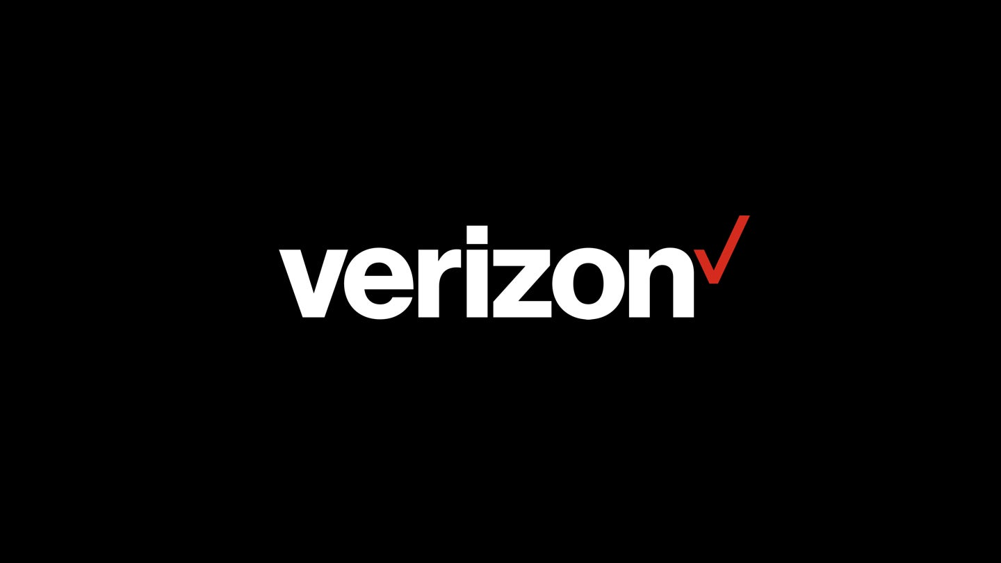Red and white Verizon logo on black background