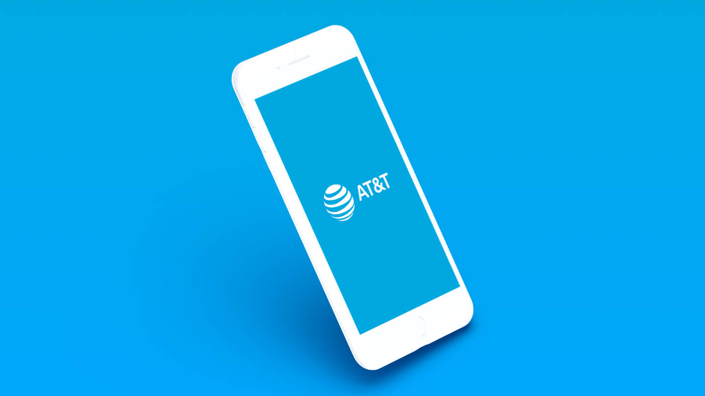 Image of a white AT&T logo on a cell phone