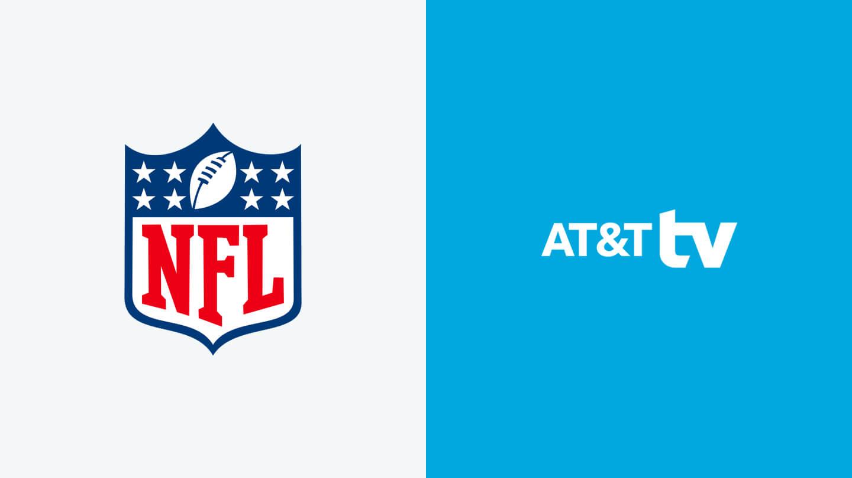 NFL logo next to AT&T TV logo