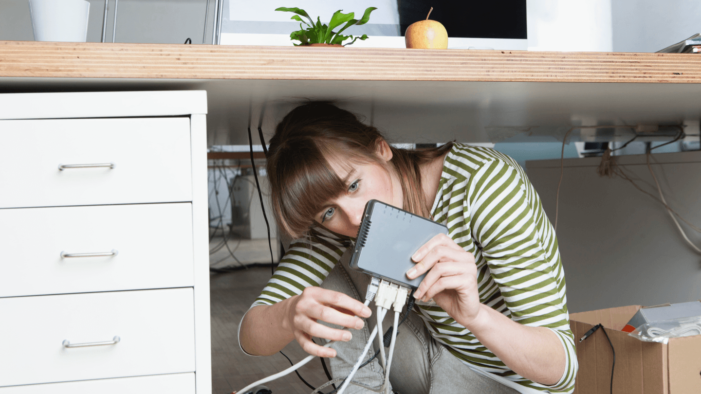 Woman self-installing her home internet service