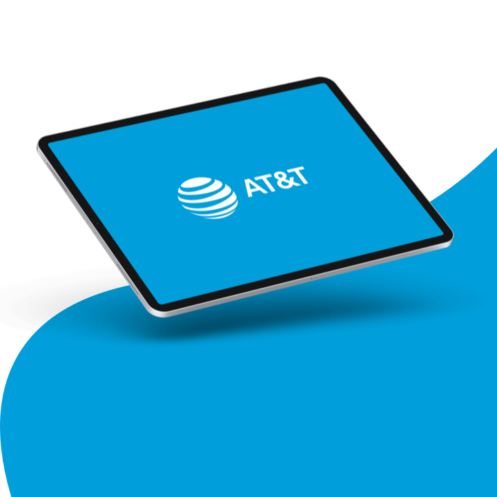 AT&T logo displayed on a tablet