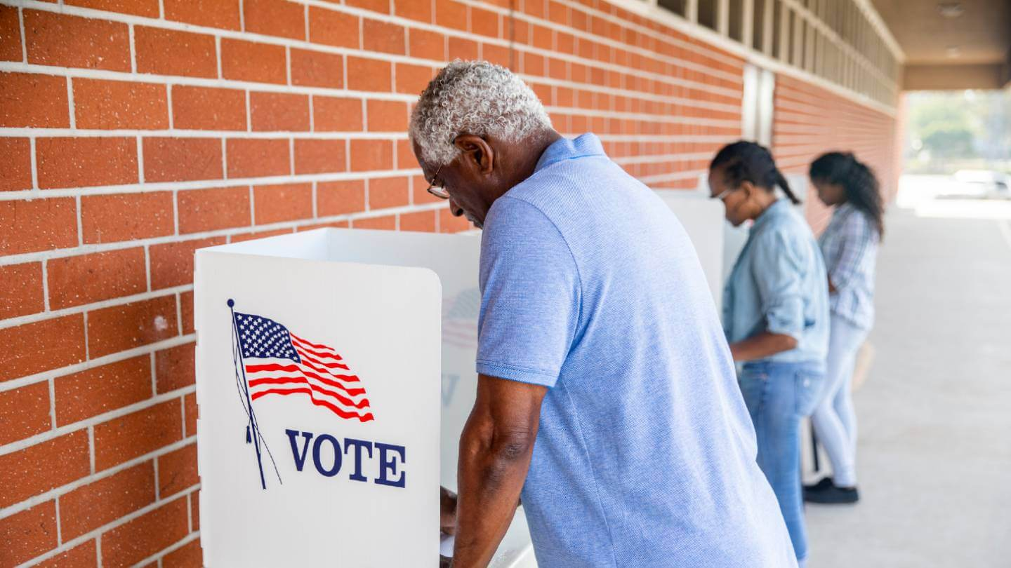 Man at voting booth