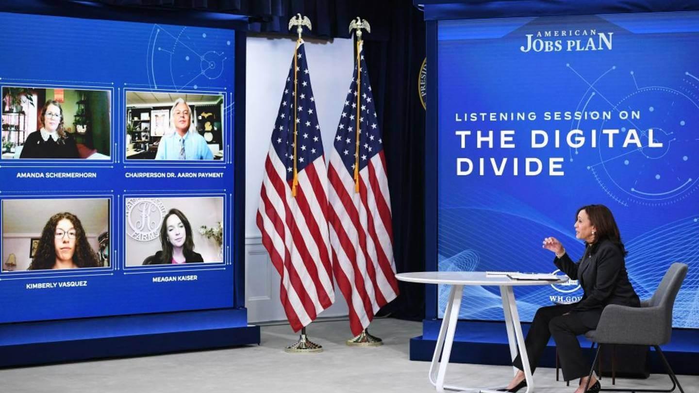 Kamala Harris discussing the digital divide